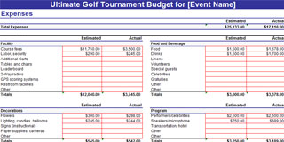 Golf Tournament Budget - Excel Spreadsheet