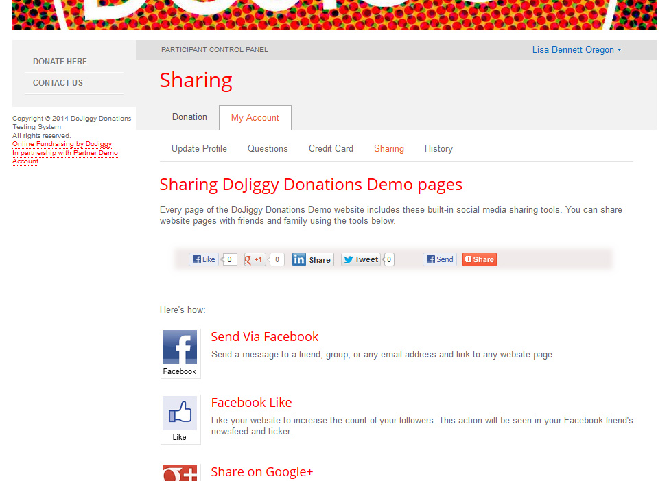 DoJiggy Participant Control Panel - Donations