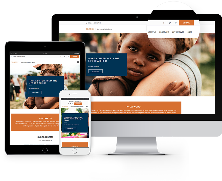 dojiggy provides beautiful nonprofit website templates making great design easy