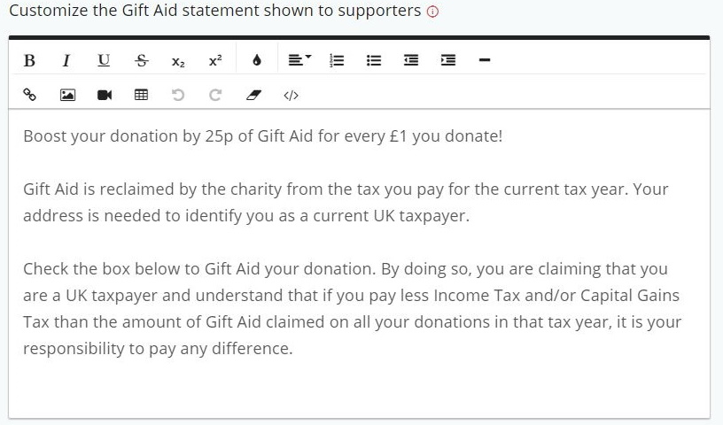 Gift Aid Message