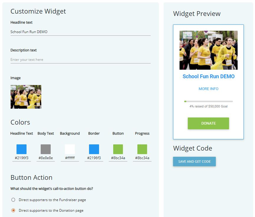 Simple Fundraising Widget