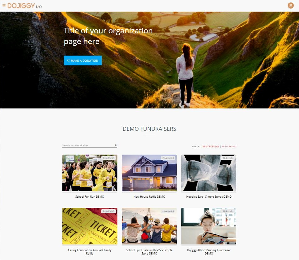 Supporter Center Landing Page