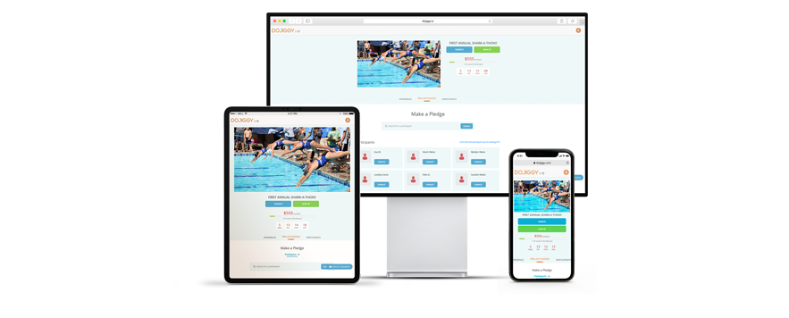 DoJiggy's fundraising software solutions for Swim-a-thon Fundraisers