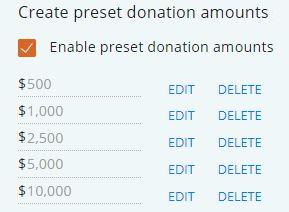 Pre-Set Donation Amounts